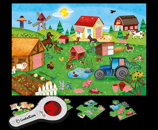 Ludattica Odkrývací puzzle s lupou - Ludattica - Farma - 24 dílů