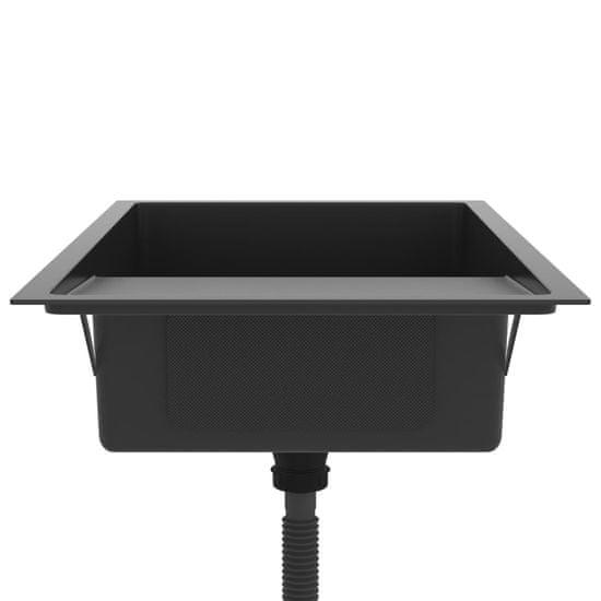 Greatstore Ručne vyrobený kuchynský drez so sitkom čierny nehrdzavejúca oceľ