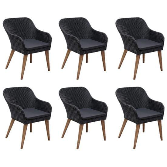 shumee Sada 7 kusov záhradného nábytku čierna