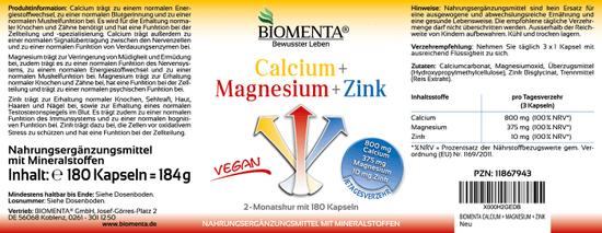 Biomenta Kalcij + Magnezij + Cink - 180 kapsul