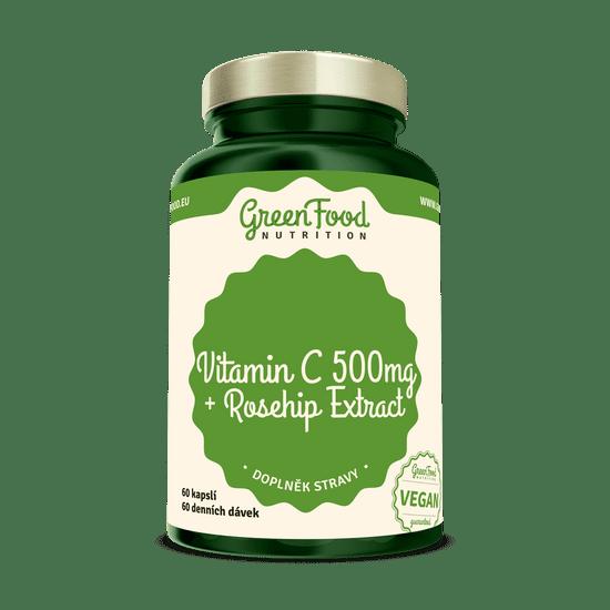 GreenFood Vitamin C 500 + Extrakt ze šípků 60 kapslí