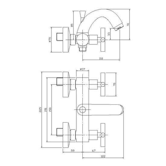 AQUALINE Xenia nástenná vaňová kohoútiková batéria, chróm (1109-10)