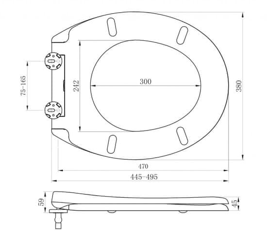 GSI CERAMICA Classic wc sedátko, soft close, biela/bronz (MSB87CN11)