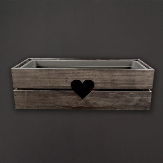 AMADEA Dřevěný obal na truhlík se srdcem tmavý, 52x21,5x17cm Český výrobek