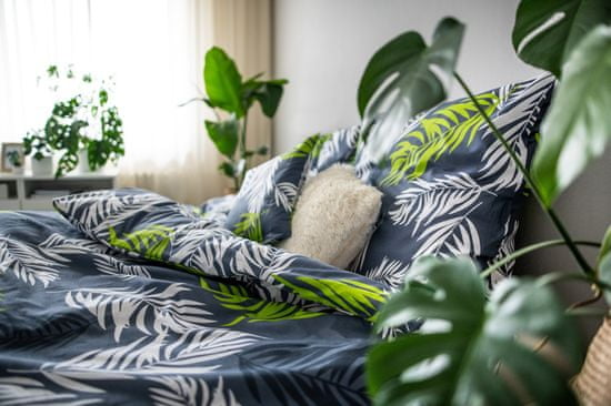 Jahu posteljnina zeleni listi, modra/bela/zelena