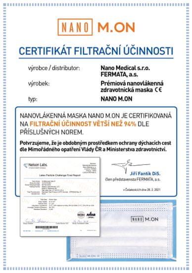"""NANO M.ON (10 ks) - Prémiová """"CE"""" nanovlákenná zdravotnická maska - chirurgická nanorouška (nanomon)"""