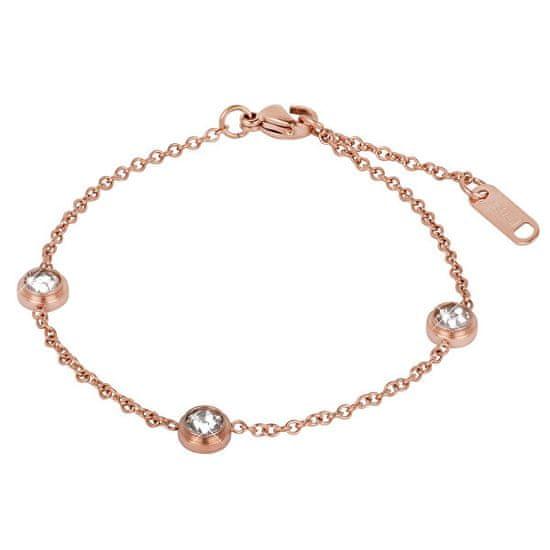 Troli Różowa, pozłacana stal bransoletka z błyszczącymi ornamentami