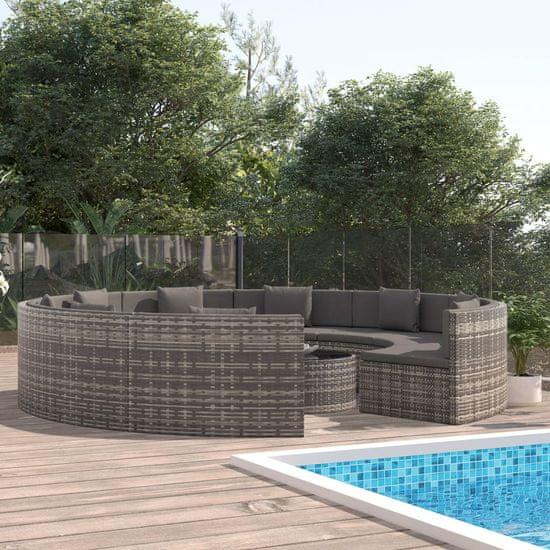 shumee 10-cz. zestaw wypoczynkowy do ogrodu, poduszki, szary rattan PE