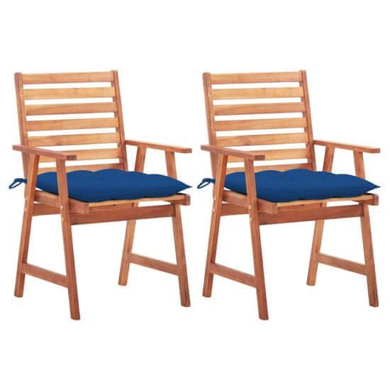 Greatstore Vonkajšie jedálenské stoličky s podložkami 2 ks masívna akácia