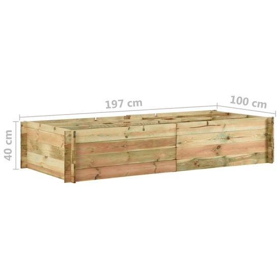 Greatstore Vyvýšený zeleninový záhon impregnovaná borovice 197x100x40 cm