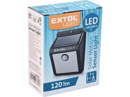 Extol Light světlo nástěnné s pohybovým čidlem, 120lm, solární nabíjení