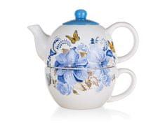 Banquet Blue Flower čajnik s skodelico