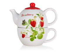 Banquet Strawberry keramični čajnik s skodelico