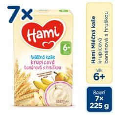 Hami mléčná kaše krupicová banánová a hruškou 7x 225g, 6+