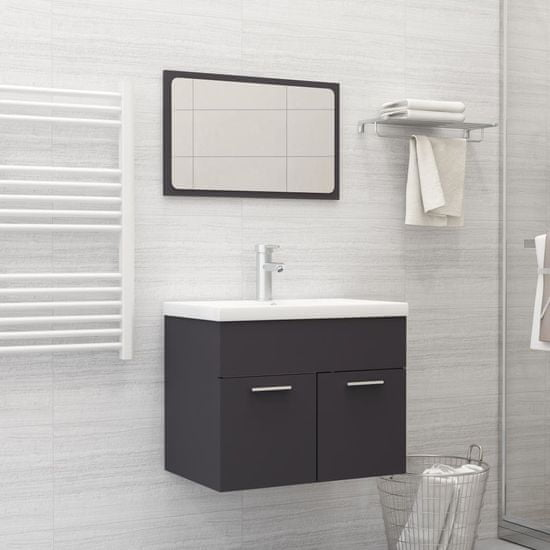 shumee 2-częściowy zestaw mebli łazienkowych, czarny, płyta wiórowa