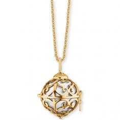 Engelsrufer Pozlacený náhrdelník Andělský zvonek s bílou rolničkou ERN-ER-01-XS-G stříbro 925/1000