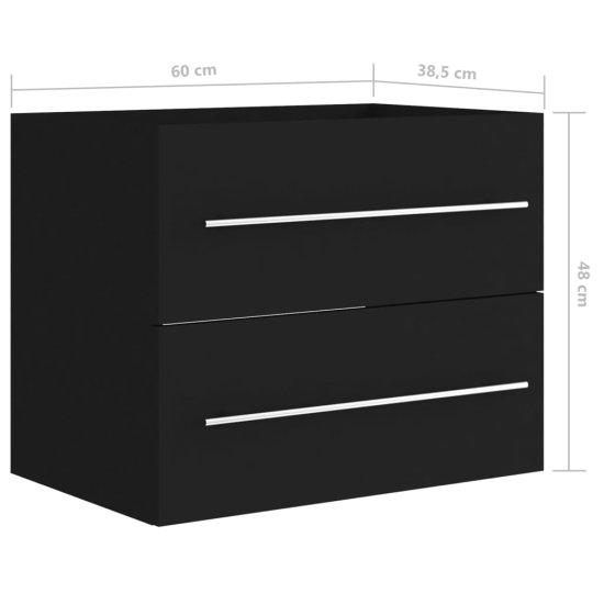 shumee fekete forgácslap mosdószekrény 60 x 38,5 x 48 cm