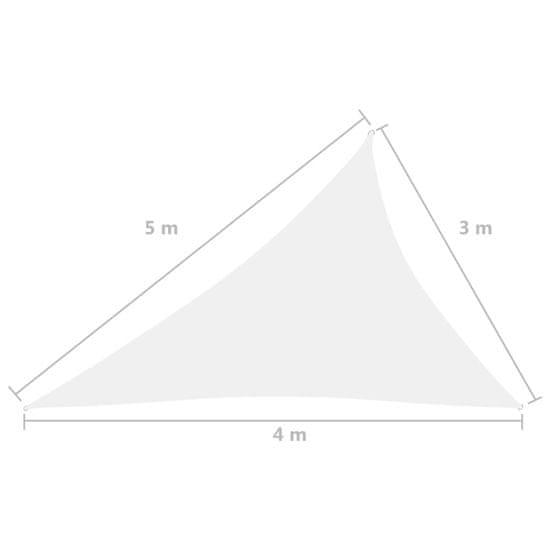 shumee Vrtno trikotno jadro Oxford Cloth 3x4x5 m Bela
