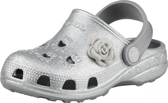 Coqui dekliški natikači Little Frog Khaki grey glitter + amulet