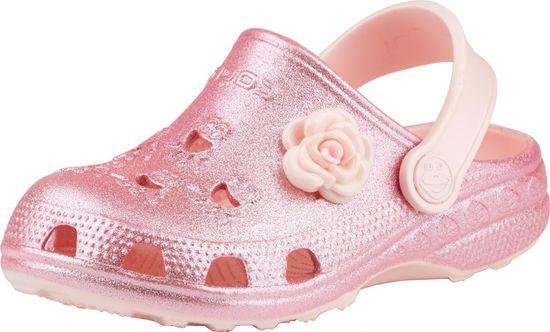Coqui dekliški natikači Little Frog Candy pink glitter + amulet