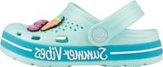 Coqui dekliški natikači Lindo Lt. mint/Turquoise summer + amulet, 34/35, svetlo modri