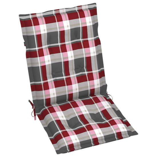 shumee Poduszki na krzesła, 2 szt., czerwona kratka, 100x50x7 cm