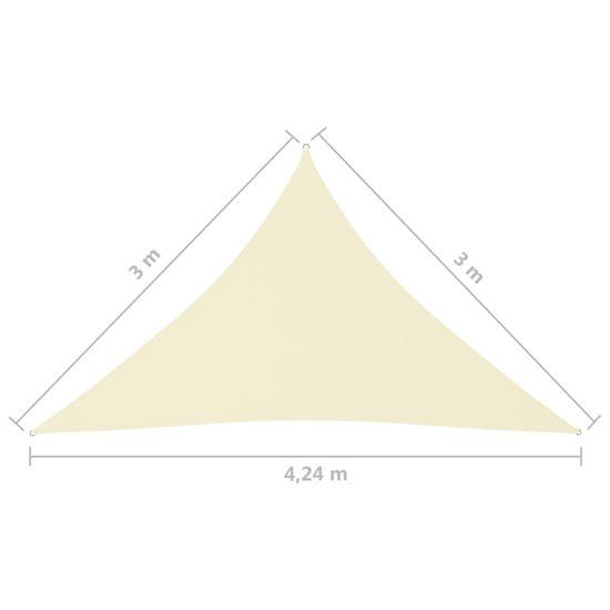 shumee Vrtno jadro Trikotna oxfordska krpa 3x3x4,24 m Krema