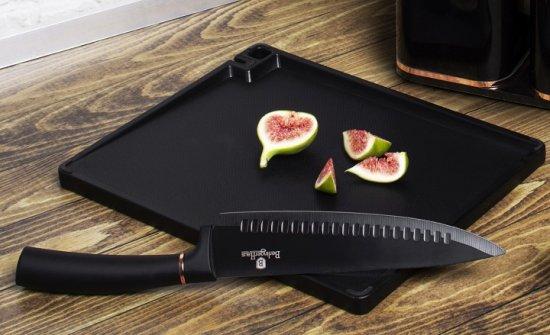Berlingerhaus Zestaw noży w stojaku i naczynia kuchenne z deską do krojenia Rosegold Metallic Line 13 szt