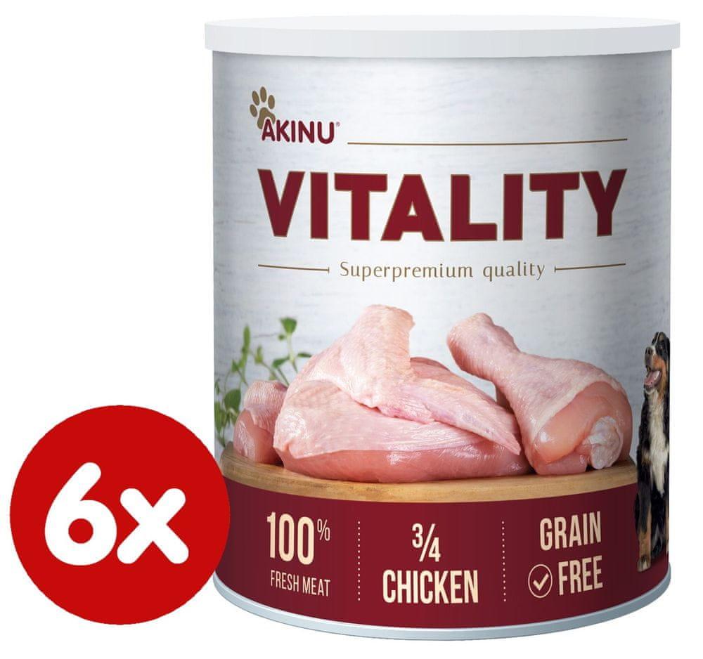 Akinu VITALITY 3/4 kuřete pro psy 6 x 800g