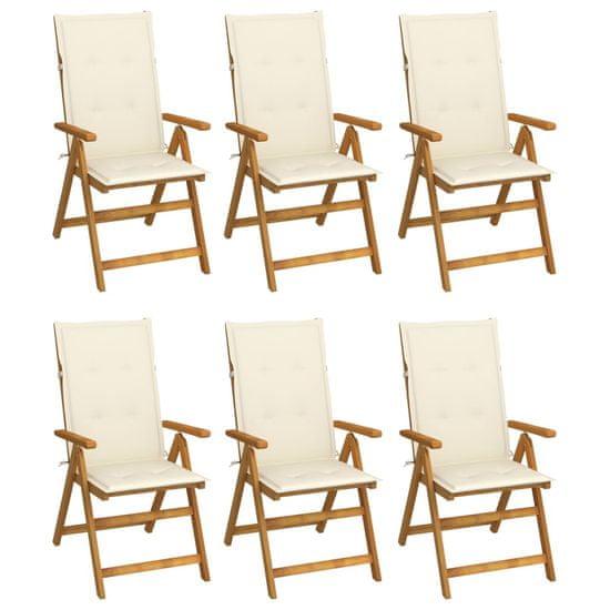 shumee Skladacie záhradné stoličky s podložkami 6 ks akáciový masív