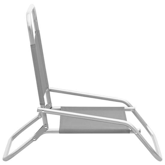 shumee Zložljivi stoli za na plažo 2 kosa sivo blago