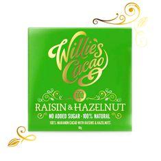 Willies Cacao 100% čokoláda bez přidaného cukru s rozinkami a ořechy, 50g
