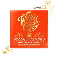Willies Cacao 100% čokoláda bez přidaného cukru s pomerančem a mandlemi, 50g