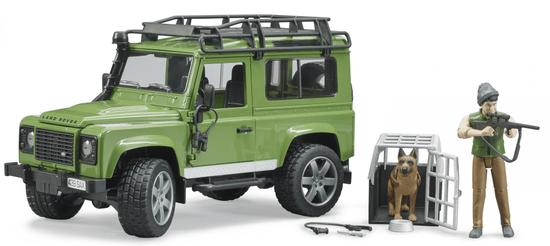 Bruder 2587 Land Rover z lovcem in psom