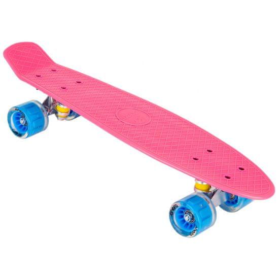 Enero Pennyboard 56 cm z LED kolesi, roza S-135