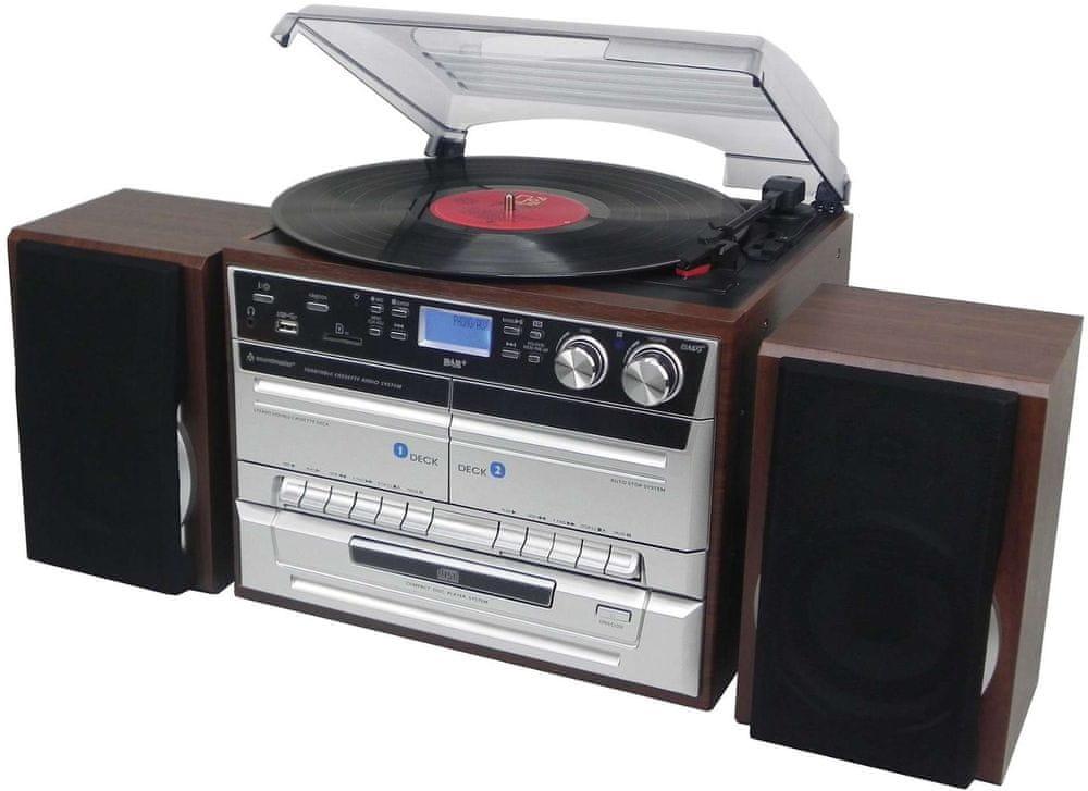 Soundmaster MCD5550DBR, retro Hi-Fi systém s DAB+, stříbrná/hnědá