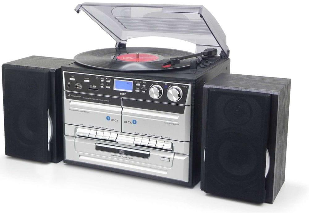 Soundmaster MCD5550SW, retro Hi-Fi systém s DAB+, černá/stříbrná