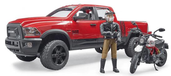 Bruder 2502 Terenski RAM z motociklom in figurico