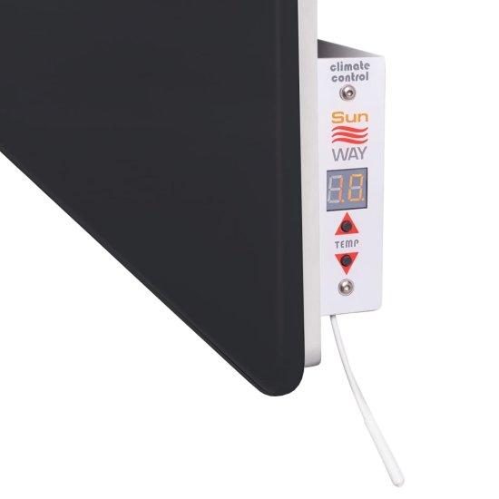 INFRADŮM Skleněný elektrický sušák na ručníky SWGT-RA 600 ČERNÝ