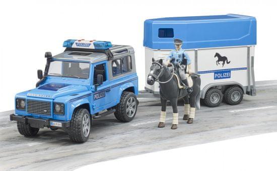 Bruder 2588 Land Rover Defender policija s prikolico in konjem