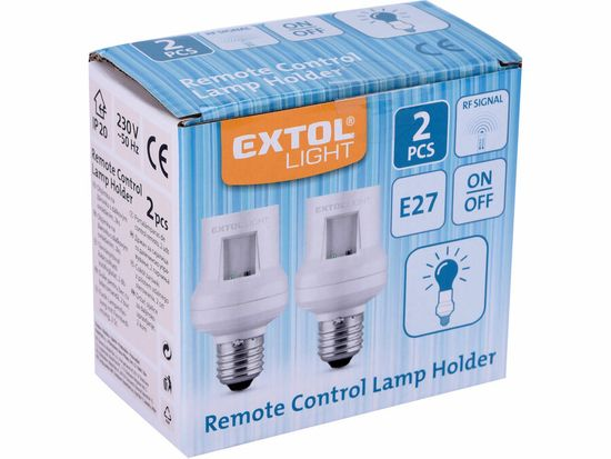 Extol Light Objímka na žiarovku diaľkovo ovládaná, 2ks, rozširujúca sada, max. 60W žiarovka, E27, dosah 30m