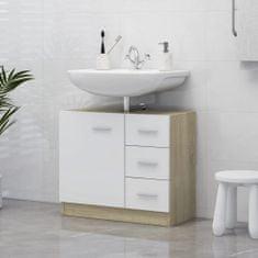 shumee Omarica za umivalnik bela in sonoma hrast 63x30x54 cm