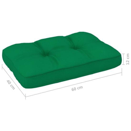 Greatstore Podložka na paletovú sedačku, zelená 60x40x12 cm