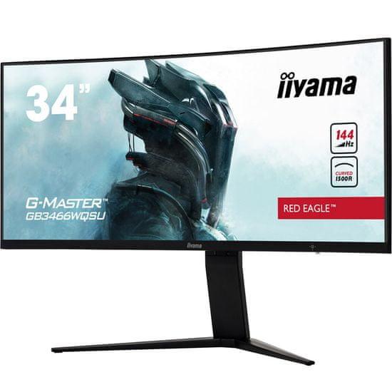 iiyama G-Master Red Eagle GB3466WQSU-B1 monitor, 86.5 cm, VA, UWQHD, ukrivljen