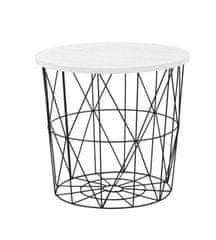 ATAN Odkládací stolek Mariffa - deska bílá/podnož černá
