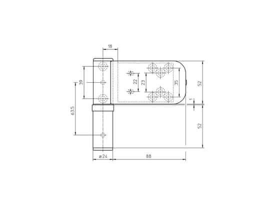 Simonswerk sada 3ks pántov SIKU 3D K 3135 F1 strieborný, 18-22 mm
