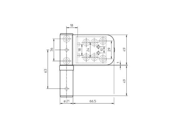 Simonswerk sada 3ks pántov Siku 3D K 4040 RAL9016 biely, 15-19 mm