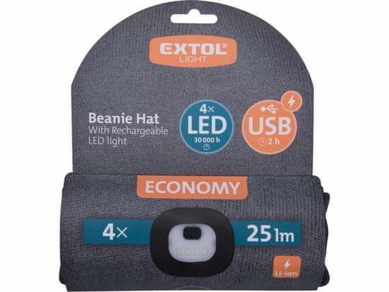 Extol Light čepice s čelovkou 4x25lm, USB nabíjení, tmavě šedá, ECONOMY, univerzální velikost