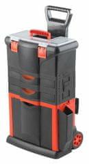 Tood Kufor na náradie pojazdný, 460 x 330 x 730 mm, 2 zásuvky, ťažná rukoväť