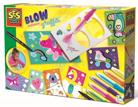 SES pihalni flomastri s šablonami, 7 barv